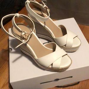 White espadrille wedges. 6 women's. Never worn.